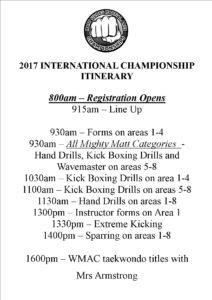 2017 International Champs Itinerary